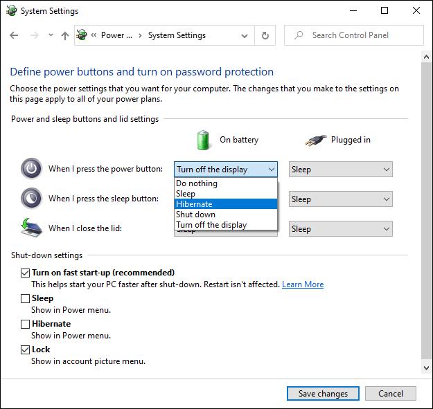 Das Windows 10 Advanced Power Settings-Menü.