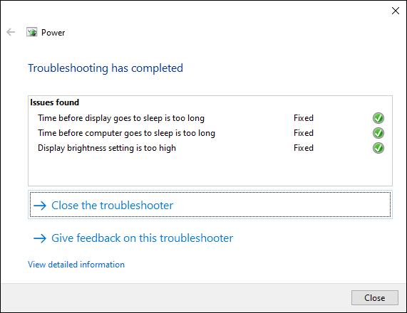 Das Windows 10-Tool zur Fehlerbehebung zeigt die abgeschlossenen Änderungen an den Energieeinstellungen an.