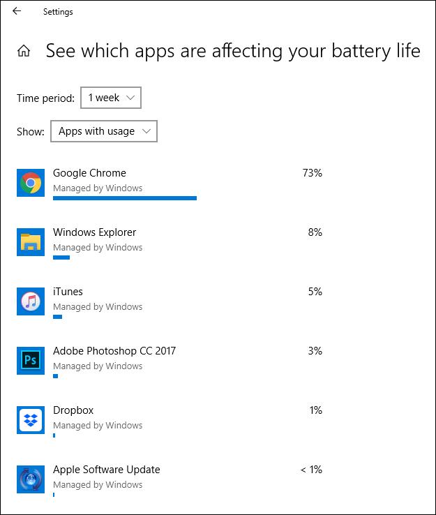 """Eine Liste der Apps in der """"Sehen Sie, welche Apps Ihre Akkulaufzeit beeinflussen"""" Fenster."""