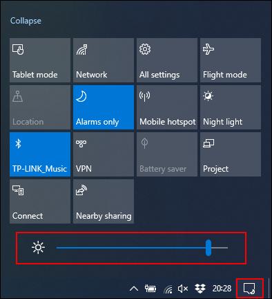 Klicken Sie auf den Schieberegler Helligkeit und bewegen Sie ihn nach links, um die Bildschirmhelligkeit zu verringern.
