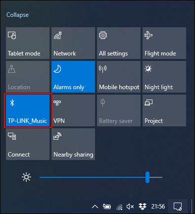 Klicken Sie auf die Bluetooth-Kachel, um sie zu aktivieren oder zu deaktivieren.
