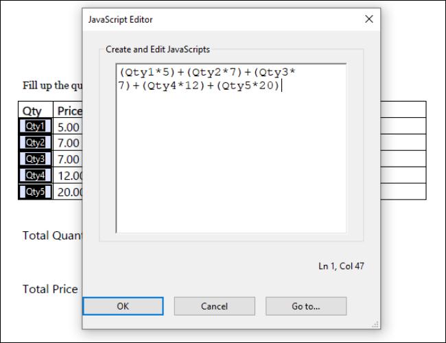 Mit Acrobat gefüllte einfache Notation