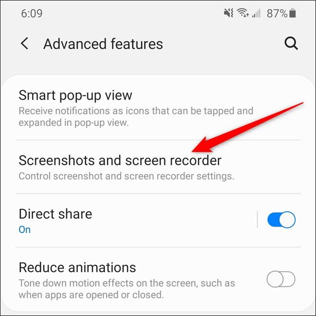 """Samsung Galaxy S20 Tippen Sie auf """"Screenshots und Bildschirmrekorder"""" Artikel."""
