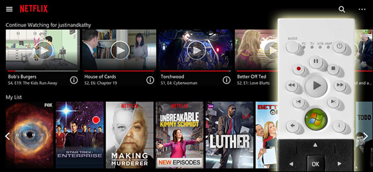 So steuern Sie Netflix in Windows mit Ihrer TV-Fernbedienung