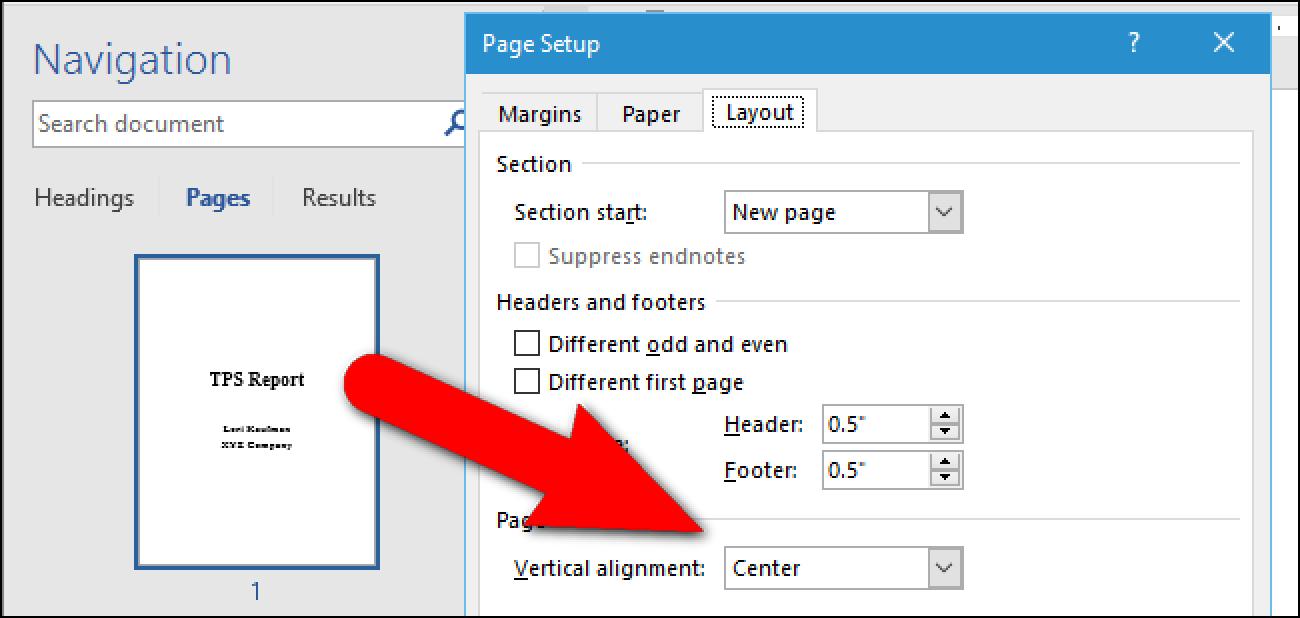 So zentrieren Sie Text vertikal auf der Seite in Microsoft Word