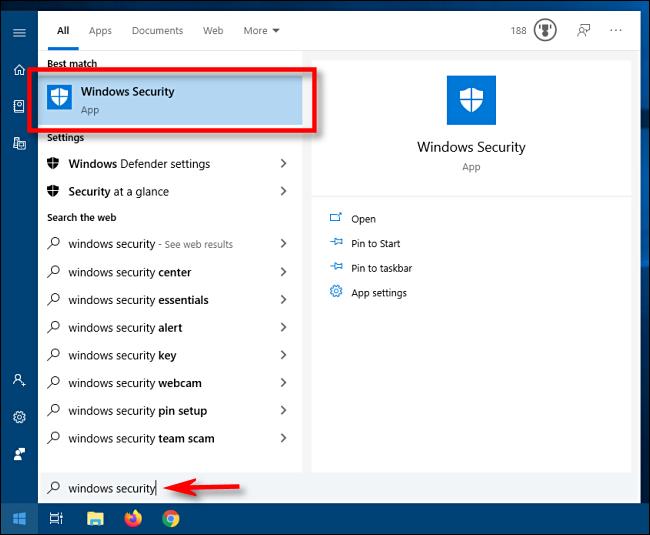 Starten Sie Windows Security über das Startmenü in Windows 10