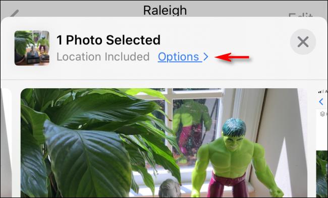 """Zapfhahn """"Optionen"""" bevor Sie ein Foto auf dem iPhone teilen."""