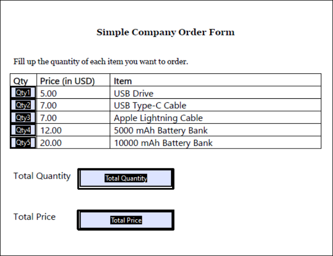 Bestellformular für Tech Company