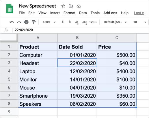 Ausgewählte Daten in einer Google Sheets-Tabelle.