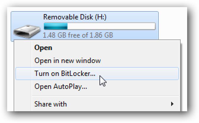 BitLocker To Go verschlüsselt tragbare Flash-Laufwerke in Windows 7