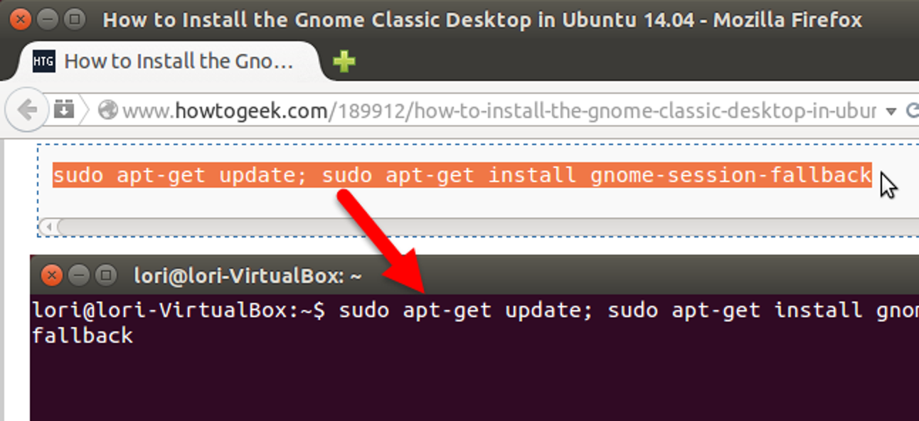 Kopieren und Einfügen von Text in das Linux-Terminal
