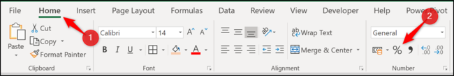 """Klicken Sie auf der Registerkarte Start auf """"Prozent Stil"""" Schaltfläche in der """"Nummer"""" Sektion."""