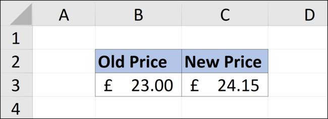 Erhöhen eines Werts in einer Excel-Tabelle um fünf Prozent.