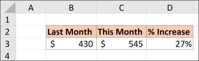 Der Prozentsatz der Differenz zwischen diesem und dem letzten Monat in einer Excel-Tabelle.
