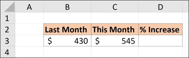 Daten in einer Excel-Tabelle zur Berechnung eines prozentualen Anstiegs.