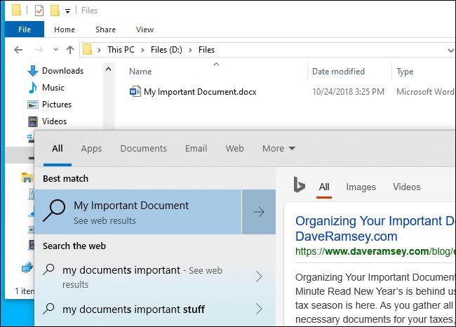 Die Dateisuche von Windows 10 findet keine Datei