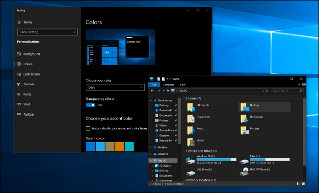 Dunkler Modus in den Windows 10-Einstellungen und im Datei-Explorer