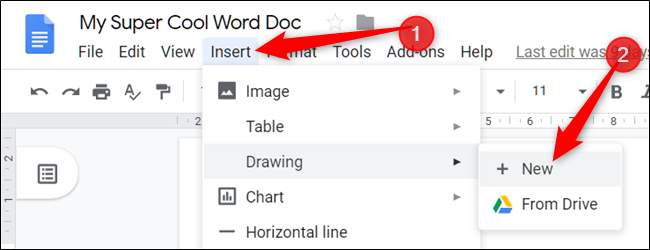 """Klicken """"Einfügen,"""" wählen """"Zeichnung,"""" und dann klicken """"+ Neu."""""""