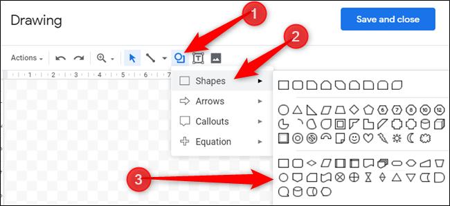 """Klicken Sie auf das Symbol mit einem Kreis über dem Quadrat und bewegen Sie den Mauszeiger darüber """"Formen,"""" Klicken Sie dann auf die gewünschte Form."""