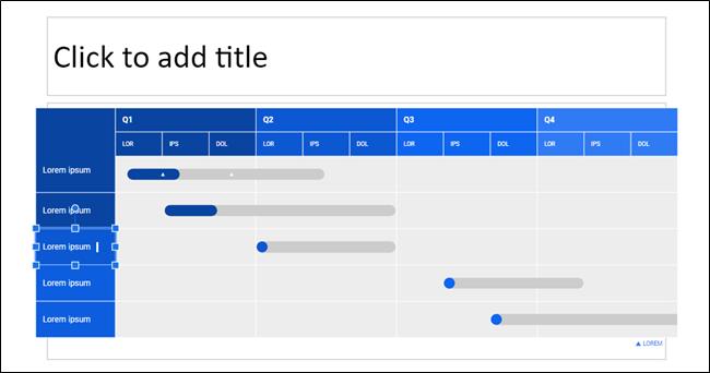 Ein Diagramm mit einem Feld, das zum Bearbeiten in Google Slides ausgewählt wurde.
