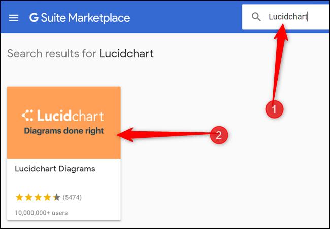 """Art""""LucidChart"""" Drücken Sie in der Suchleiste die Eingabetaste und klicken Sie dann auf das LucidChart-Symbol."""