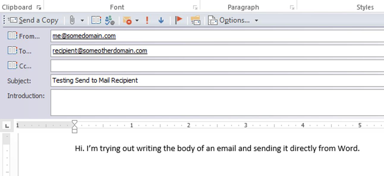 So senden Sie ein Word-Dokument als Hauptteil einer E-Mail-Nachricht