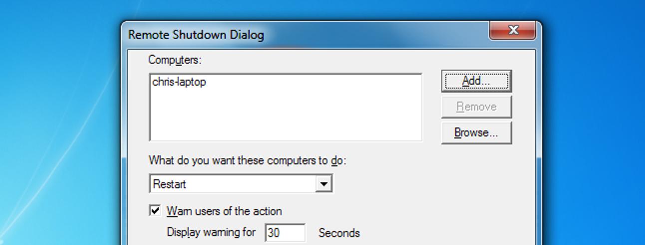 Herunterfahren oder Neustarten von Windows-PCs aus der Ferne