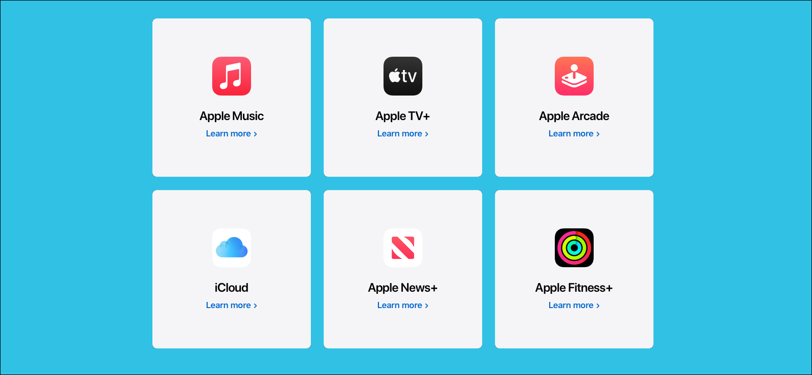 Ein Apple One-Bundle, einschließlich Apple Music, Apple TV +, Apple Arcade, iCloud, Apple News + und Apple Fitness +.