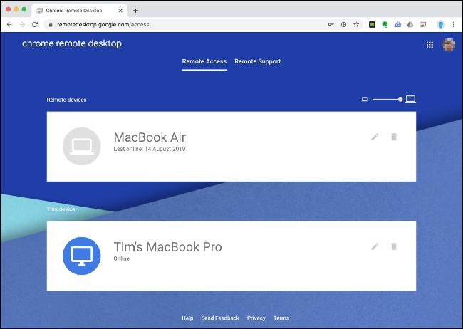 """Das """"Fernzugriff"""" Menü auf Chrome Remote Desktop."""