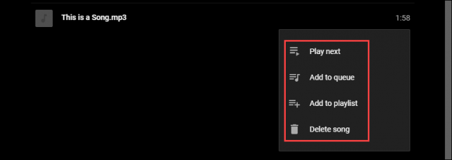 Youtube Musik Song Menü