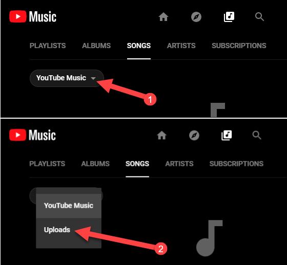 Uploads der YouTube-Musikbibliothek