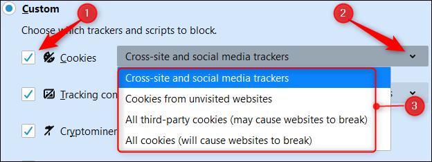 """Aktivieren Sie das Kontrollkästchen neben """"Kekse,"""" Klicken Sie auf den Pfeil und wählen Sie eine Option aus dem Dropdown-Menü."""