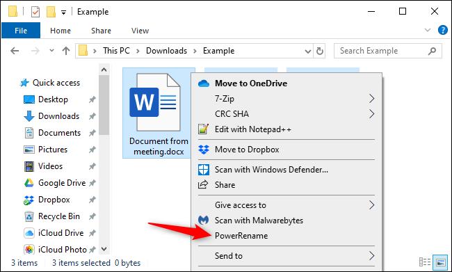 Massenumbenennung von Dateien im Datei-Explorer mit Microsoft PowerToy.