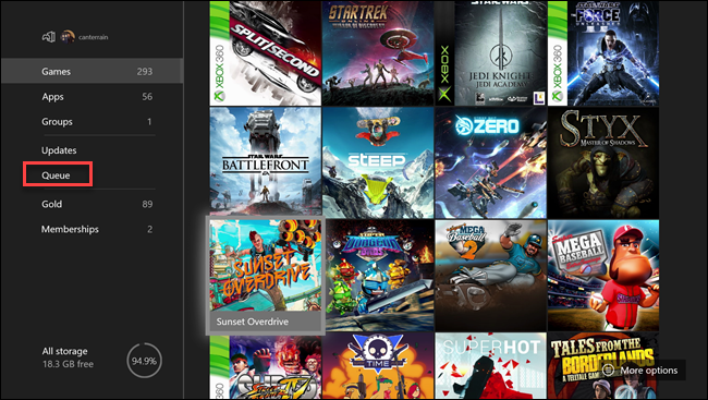 Xbox my games & apps Menü mit Box um Warteschlange Option.