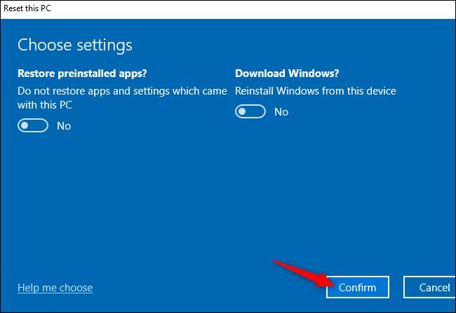 """Das """"Bestätigen"""" Schaltfläche zum Zurücksetzen eines Windows 10-PCs."""