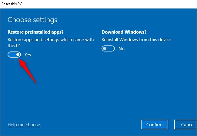 """Das """"Vorinstallierte Apps wiederherstellen?"""" Option zum Durchführen eines Neustarts unter Windows 10."""