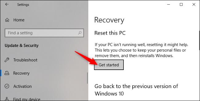 """Das """"Loslegen"""" Klicken Sie unter Windows 10 in der Anwendung Einstellungen von Windows 10 auf die Schaltfläche Zurücksetzen."""