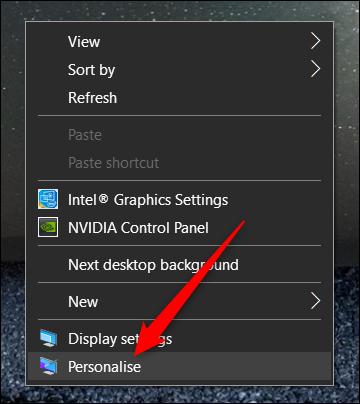Klicken Sie mit der rechten Maustaste auf den Desktop, und klicken Sie dann auf Personalisieren