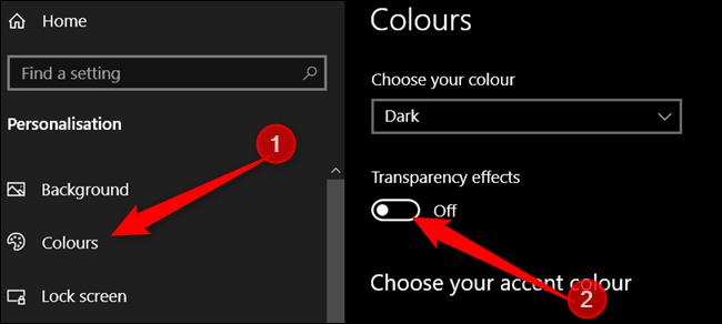 Klicken Sie im linken Bereich auf Farben und deaktivieren Sie die Transparenzeffekte