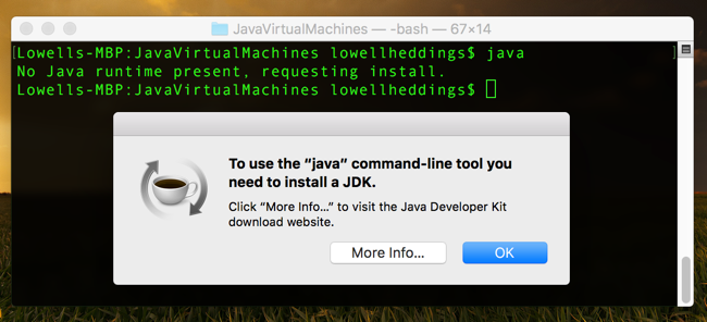 JavaVirtualMachines _ - _- bash _ - _ 67 × 14