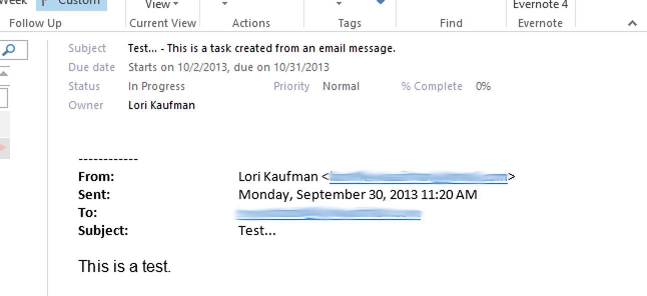 So erstellen Sie eine Aufgabe aus einer E-Mail-Nachricht in Outlook 2013