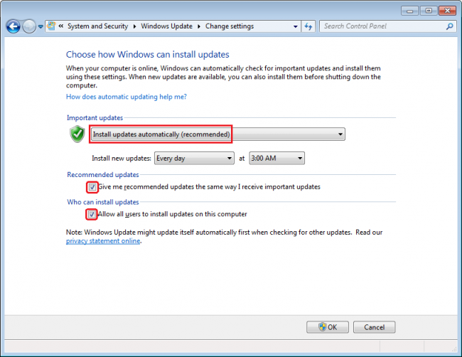 Windows Update-Einstellungen