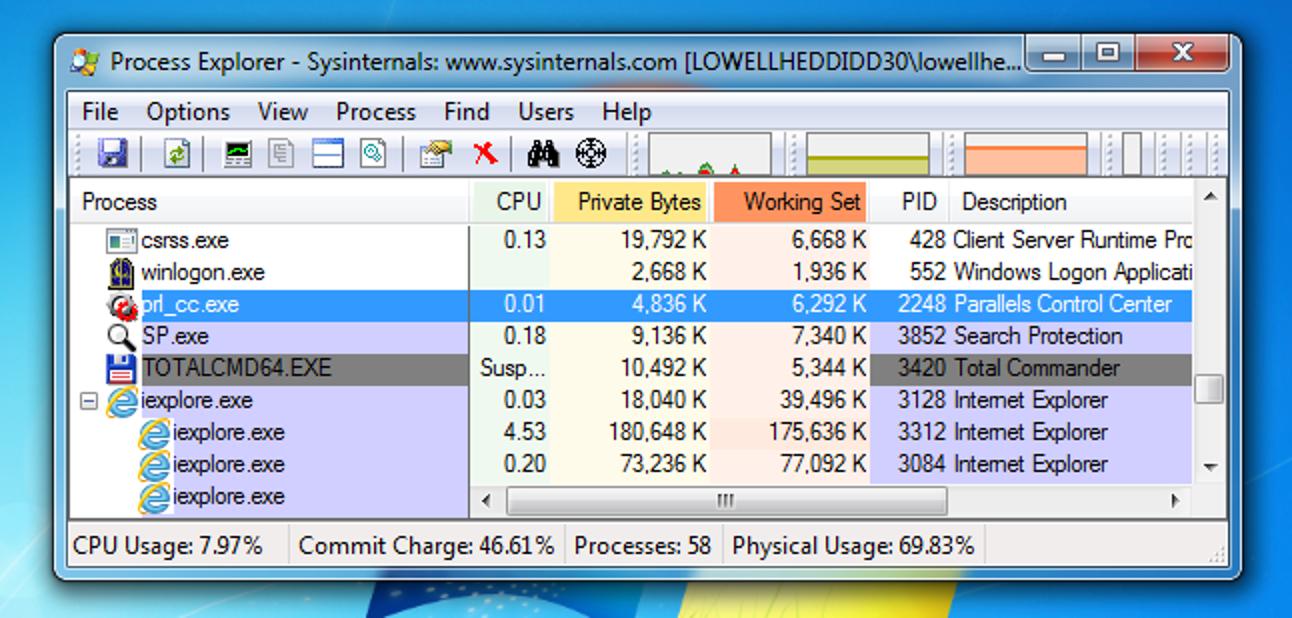 So halten Sie eine Windows-Anwendung mit Process Explorer an oder setzen sie fort