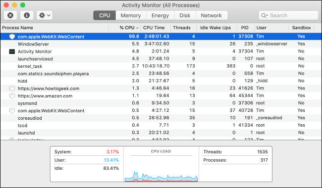 Beenden Sie Prozesse mit zu viel CPU mit Activity Monitor