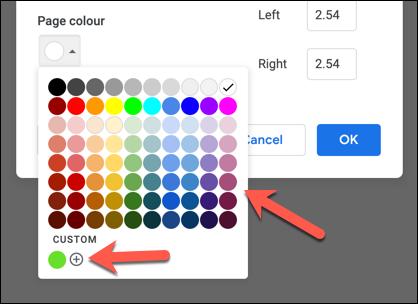 """Wählen Sie eine voreingestellte Farbe aus """"Seitenfarbe"""" Dropdown-Menü oder drücken Sie die Schaltfläche Hinzufügen in der """"Benutzerdefiniert"""" Sektion."""