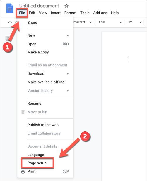 """Drücken Sie auf Datei> Seiteneinrichtung, um auf die Einstellungen Ihres Google Text & Tabellen-Dokuments zuzugreifen."""" width=""""502″ height=""""617″ onload=""""pagespeed.lazyLoadImages.loadIfVisibleAndMaybeBeacon(this);"""" onerror=""""this.onerror=null;pagespeed.lazyLoadImages.loadIfVisibleAndMaybeBeacon(this);""""/></p> <p>Wählen Sie im angezeigten Feld """"Seiteneinrichtung"""" eine neue Seitenfarbe aus, indem Sie das kreisförmige Symbol """"Seitenfarbe"""" auswählen.</p> <p><img class="""