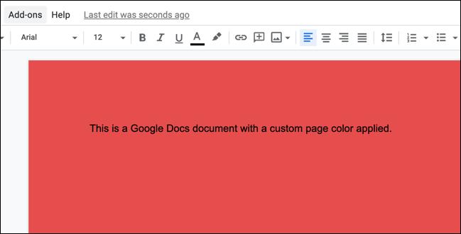 Ein Beispiel für ein Google Text & Tabellen-Dokument mit angewendeter benutzerdefinierter Seitenfarbe