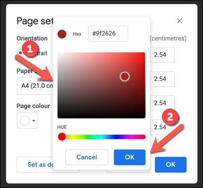 Verwenden Sie das Farbanpassungswerkzeug, um eine neue Seitenfarbe auszuwählen, und drücken Sie zum Speichern OK.