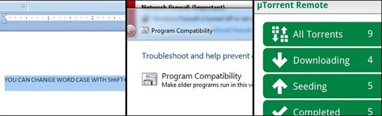Verschieben der Groß- und Kleinschreibung in MS Word, Programmkompatibilität unter Windows 7 64-Bit und Easy Phone-basiertes Torrenting