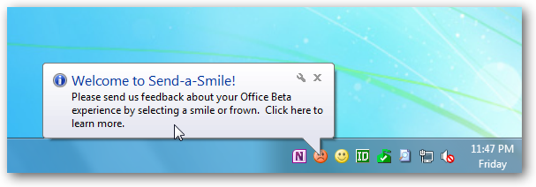Deaktivieren Sie Office 2010 Beta Send-a-Smile beim Start